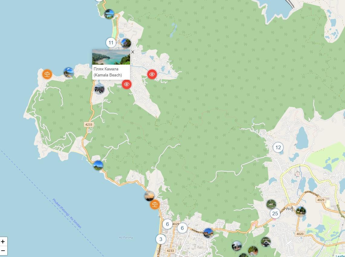 Пляж Камала на карте Пхукета