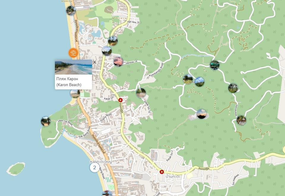 Пхукет. Пляж Карон на интерактивной карте