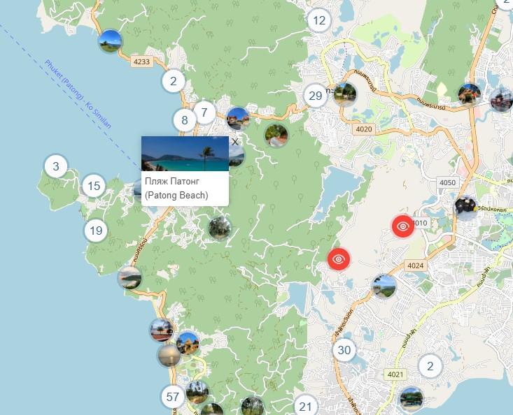 Пляж Патонг на карте Пхукета